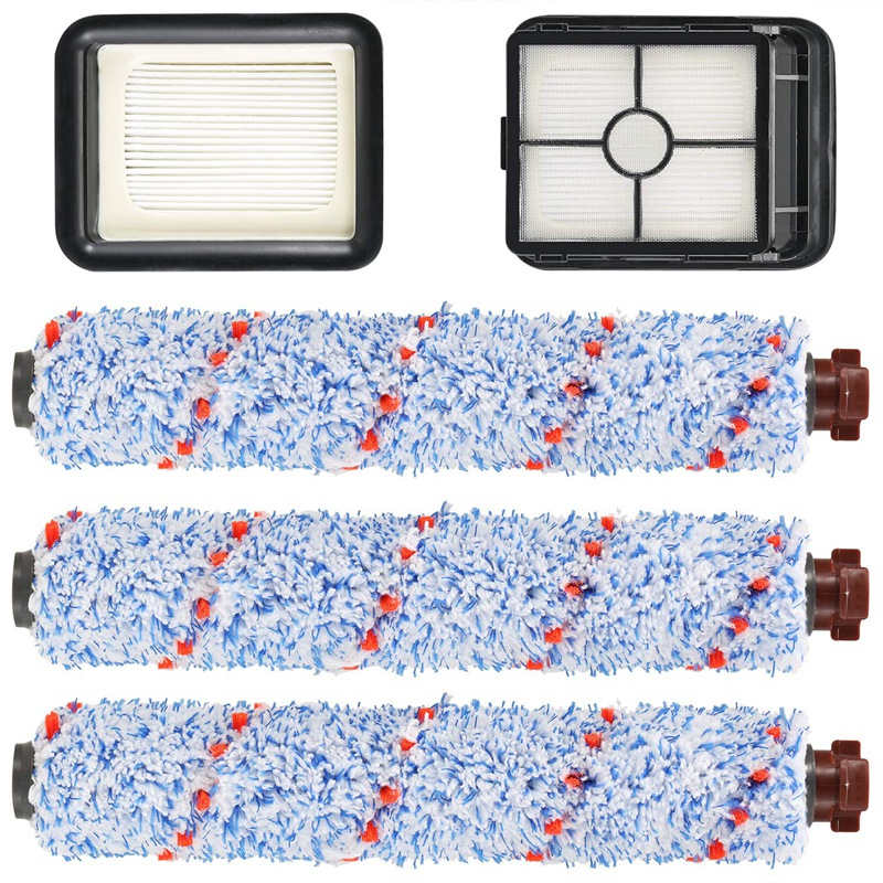 Convient pour Bissell Crosswave 1785/2306 Series-3 Pack multi-surface 1868 rouleau de brosse et 2 Pack 1866 filtre à vide