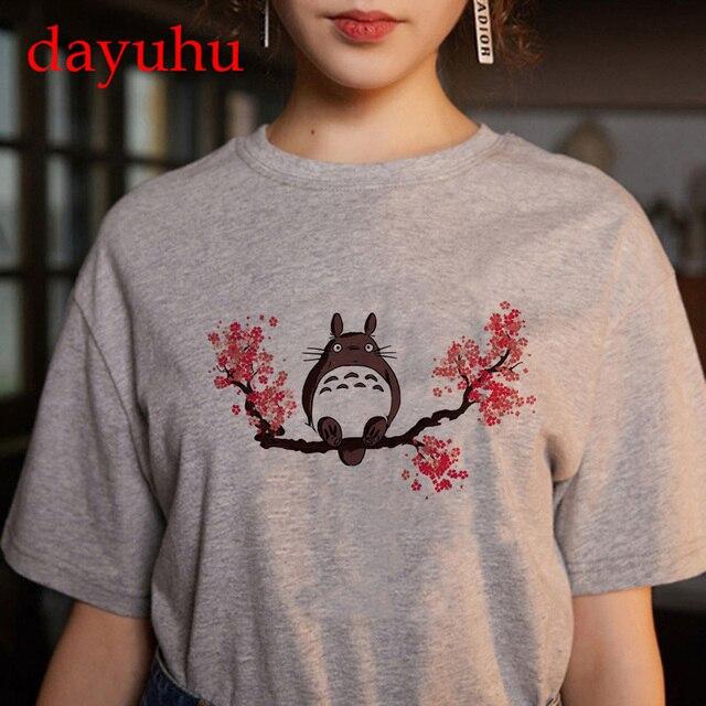 Totoro Studio Ghibli Harajuku Kawaii T Shirt Women Ullzang spirited away Tshirt Funny Cartoon T-shirt Cute Anime Top Tee Female 3
