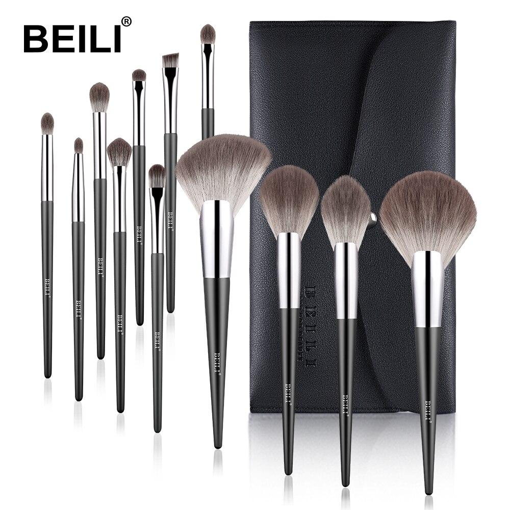 BEILI profesyonel makyaj fırça seti Fan toz fondoten allık yumuşak nano fiber saç kaş 12 adet kozmetik makyaj fırçası