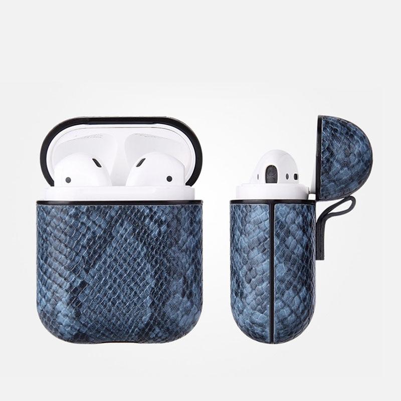 Custom Python Sleeve For Apple Airpod Bluetooth Wireless Earpphone Snake PU Leather Case Cover For Air Pod 1 2 Funda Cover Box