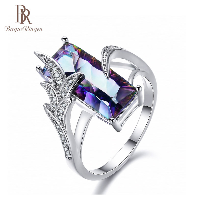 Bague Ringen Rainbow Fire Mystic Topaz Gemstone Rings Pure 925 Sterling Silver Jewelry Wedding Party Gift For Women Size 6-10