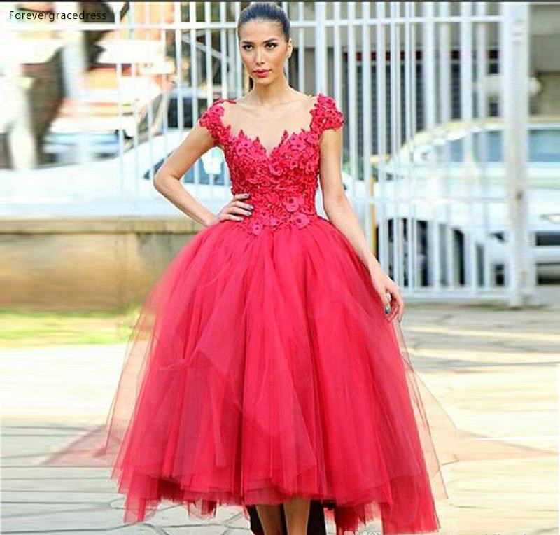2019 Red   Prom     Dress   Jewel Sheer Neck Applique Tiered Ruffle Formal Holiday Wear Party Gown Custom Made Plus Size