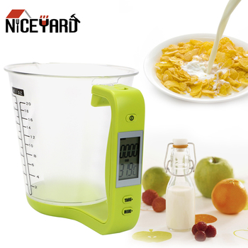 NICEYARD Electronic Measuring Cup Kitchen Scales Digital Beaker Host Weigh Temperature Measurement Cups With LCD Display
