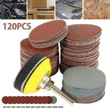 Pad Sander-Disc Grit with Shank-Backer-Plate Sponge-Cushion 120pcs Polishing 2inch 60-3000