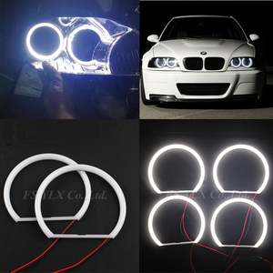 Image 3 - Ultra helle 4*131mm 3014 SMD LED Angel Eyes für BMW E39 E46 E38 E36 projektor led scheinwerfer halo ring kit weiß für bmw e39 E46