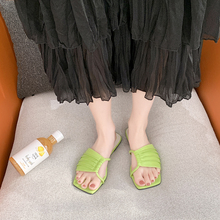 Candy Colors Flat Slippers Women Hollow Square Toe Slippers Summer Outdoor Open Toe Slippers Women Pu Leather Slides 2020 apricot contrast point toe pu heeled slippers