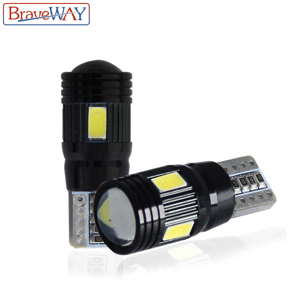BraveWay Car Signal Lights 2x T10 w5w Led Bulb Error Free 12V Auto Interior Light w5w Canbus T10 Led Lamps Bulbs for Cars