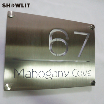 Custom Hotel Signs Engraved Stainless Steel Signs Fashion Design Hotel Door Signs