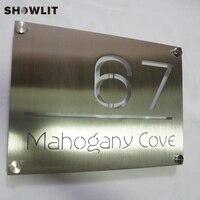 Sinais feitos sob encomenda da porta do hotel do design da forma dos sinais de aço inoxidável gravados