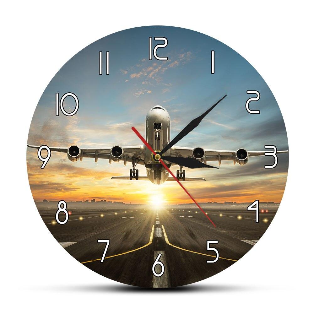 Aircraft Flight Home Decor Wall Clock Aviation Route Acrylic Wall Clock Quartz Silent Modern Airline Custom Wall Watch