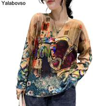 New Korean Styles Fashion  Printed Sweaters Autumn And Winter Pullovers Loose Trend O Neck Long Sleeves Female Yalabovso