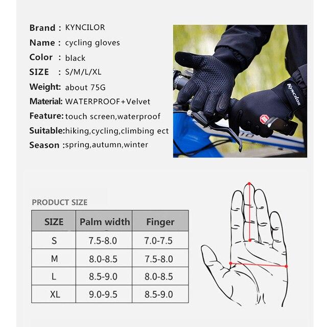 Luvas de ciclismo com suporte para o pulso, luvas para bicicleta com touch screen, antiderrapante e à prova de vento, para uso ao ar livre 6