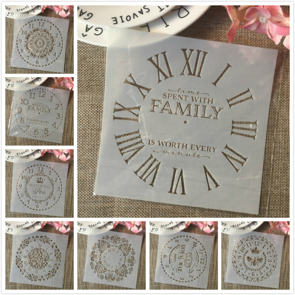8Pcs/Set 15cm Clock Family Paris Dial DIY Layering Stencils Painting Scrapbook Coloring Embossing Album Decorative Template