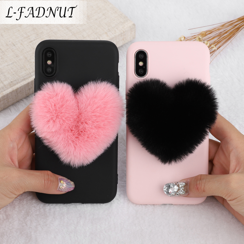 L-FADNUT For iPhone X Xr Xs Max 8 7 6S 6 Plus Case Luxury Cute Silicone Shockproof Soft TPU Plush Fur Cover For 5 5S SE 2020