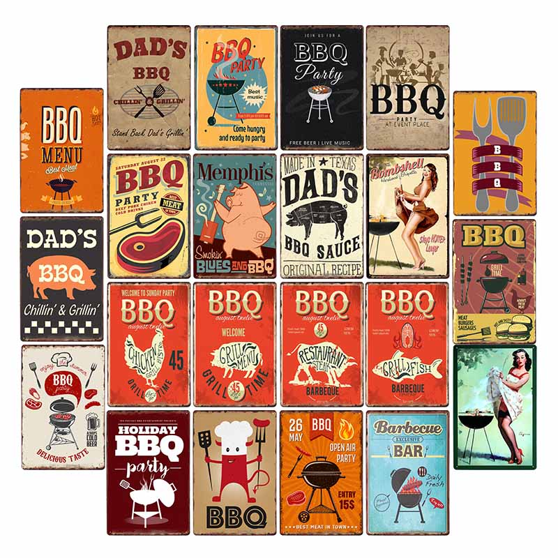 DAD'S BBQ Tin Signs Vintage Metal Plaques Wall Poster Decorative Plates Bar Decoration Farmhouse Decor 20x30cm