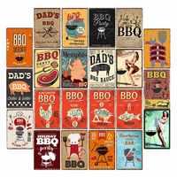 DAD'S BBQ Tin Signs Vintage Metal Plaques Wall Poster Decorative Plates Bar Decoration Farmhouse Decor 20x30cm