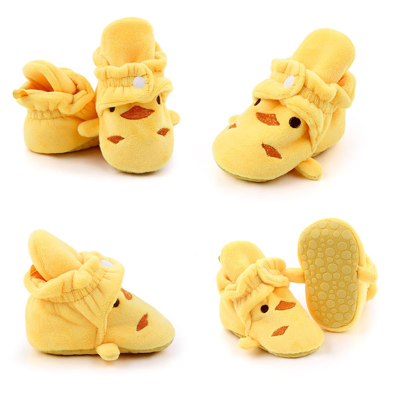 Baby Girl Boots Prewalker Non-slip High Boots Cotton Cute Cartoon Infant Boy Girl Soft Sole Shoes Buckle Strap Infant Boots