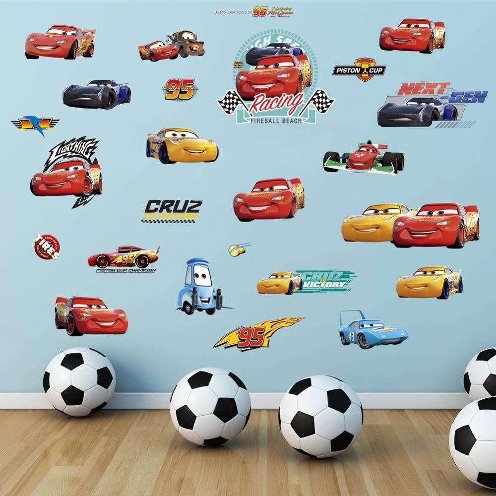 Cartoon Mcqueen Cars 3D Wall Stickers for Kids Room Boys Fake Window PVC Wallpaper Murals Sticker Decals Room Decoration Nursery 16