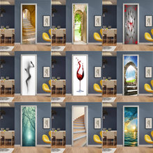 Креативный пейзаж 3d наклейка на дверь обои «сделай сам» Настенная