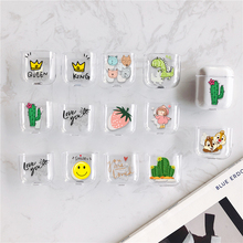 цена на Hard PC Pattern Case For AirPods Accessories Cartoon Earphone Cases For Airpods 1 2 Cute Cactus Protective Cover earphone Case