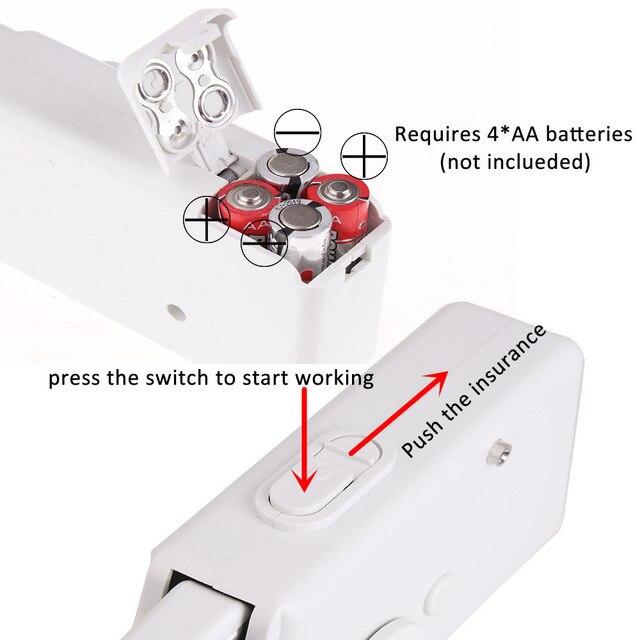 Mini macchina da cucire a mano portatile Set di cucito a punto elettrico a batteria per uso domestico per riparazioni rapide Stitchin per vestiti fai-da-te