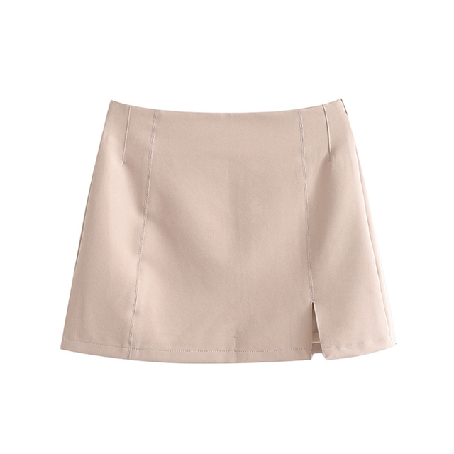 Spring New Women's Solid Short Suit Coat Solid Lapel Concealed Button Design Slim Split Mini Skirt Solid Color Suit 6