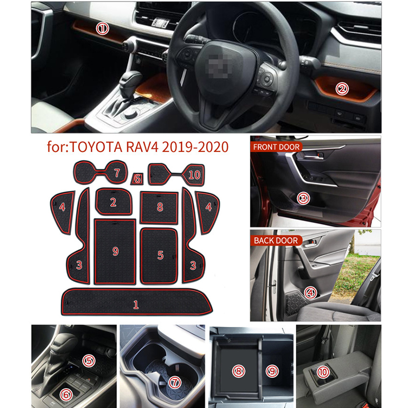 lowest price Anti-slip Car Door Rubber Cup Cushion Red Gate Slot Pad for Toyota RAV4 XA50 RAV 4 50 MK5 2019 2020 Interior Mat Accessories