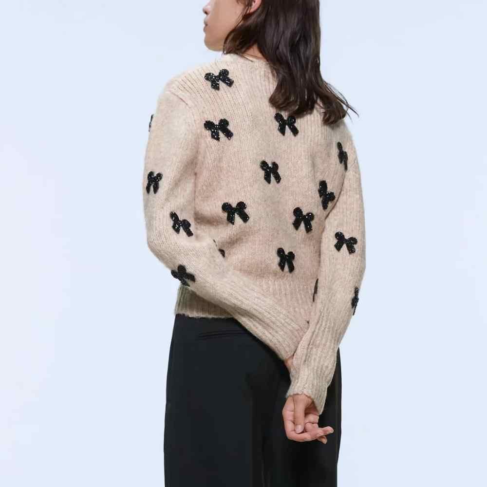 Za 여성 가을 겨울 따뜻한 탑 니트 bowknot 스웨터 풀오버 캐주얼 당겨 슬림 여성 여성 스웨터