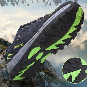 Image 3 - プラスサイズ耐久性のあるアウトドアハイキングシューズメンズレディース牛スエードトレッキング登山靴防水ノンスリップ戦術的なハイキングスニーカー