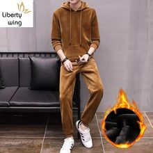 Winter Mens Fleece Lining Joggers Sweatshirt Set Casual Hoodies Tracksuit Velvet Couple Two Pieces Long Pants Sets Big Size 3XL(China)