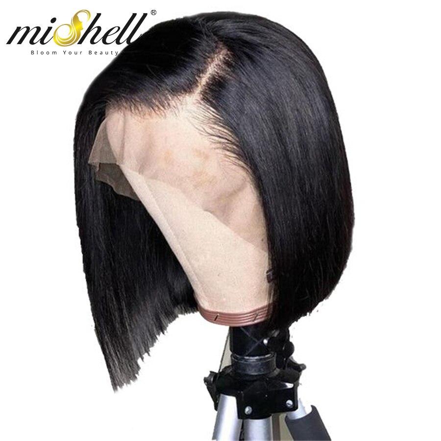 Perucas de cabelo humano frontal do laço do bob 13x4 em linha reta 4x4 cabelo brasileiro bob preplucked para a peruca do laço do cabelo de alta densidade das mulheres