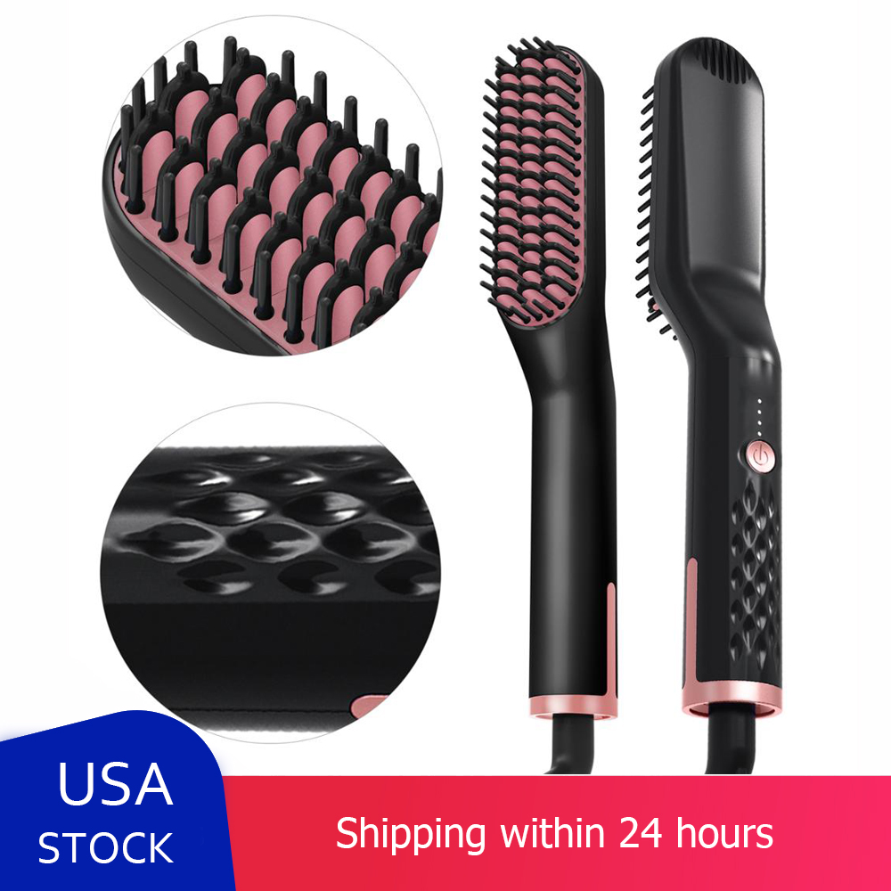 3 In1 Beard Straightener Quick Heater Electric Straightener Curls Hair Comb Brush Men Women Multifunctional Hair Styling Tool