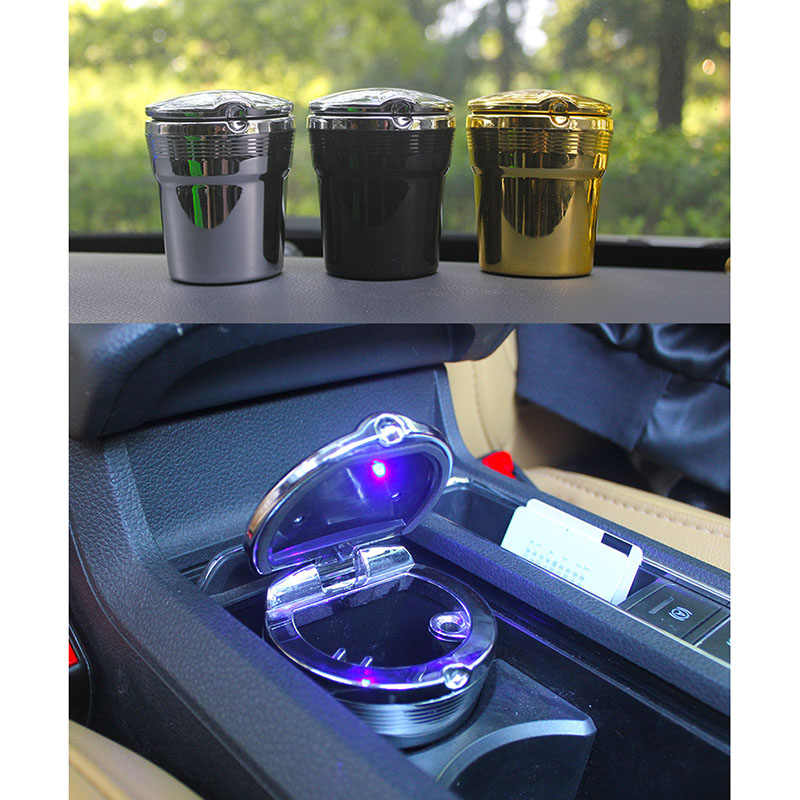 Black Easyinsmile Car Ashtray Portable Ash Holder Smokeless Ash Tray with Lid and Blue LED Light for Car Cup Holder and Outdoor