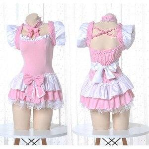 Lolita Carino Lolita Vestito Rosa Costume Da Cameriera Giapponese di Cosplay del Anime Costume Grembiule Cameriera Uniforme Kawaii Camicia Da Notte Vestito per la Donna