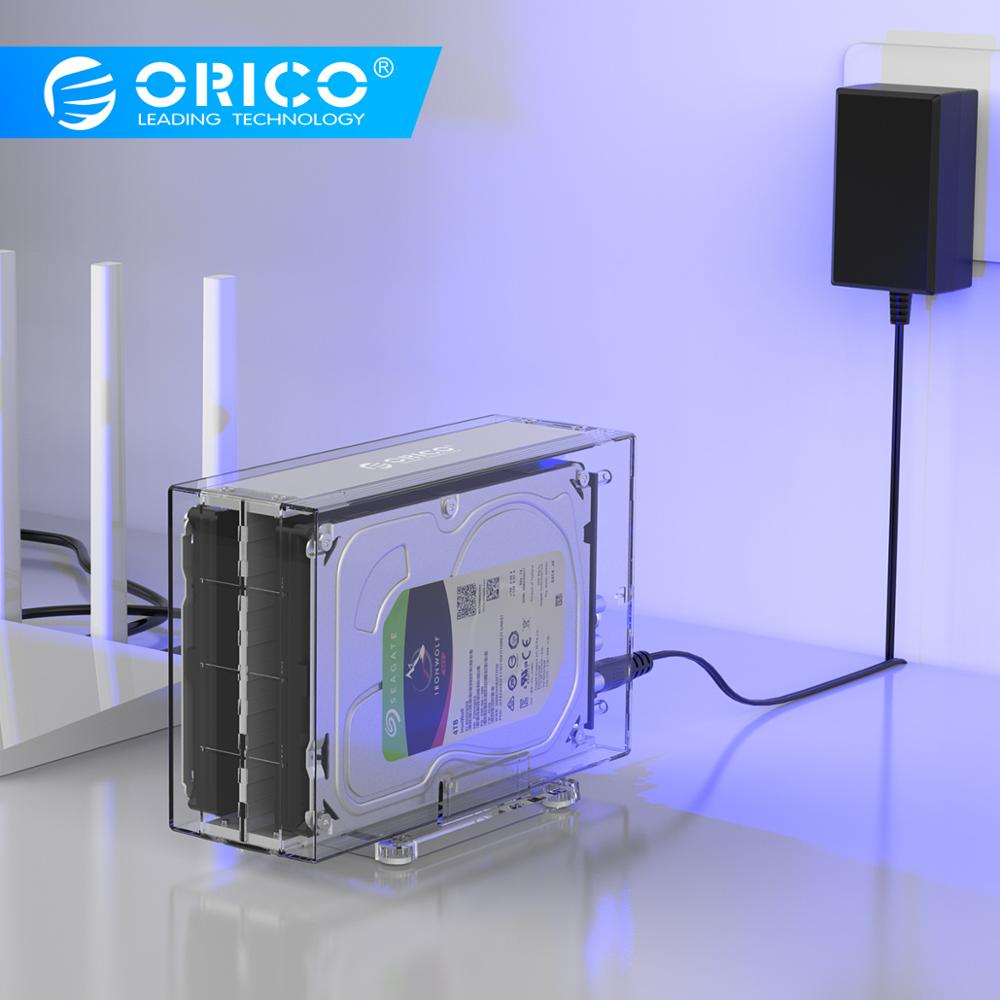 ORICO Type C Dual Bay Portable Hard Drive Enclosure SATA To USB C Transparent HDD Dock Station UASP 24TB Add 12V Power Adapter