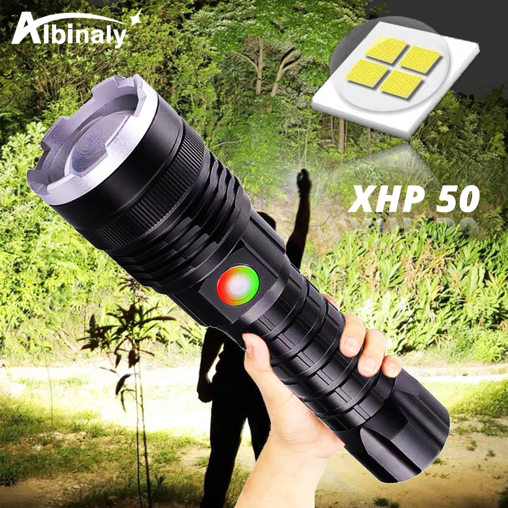 Tactical LED Flashlight Powerful XHP50 Lamp bead LED Torch <font><b>4</b></font> lighting mode waterproof Portable lantern For night outdoors image