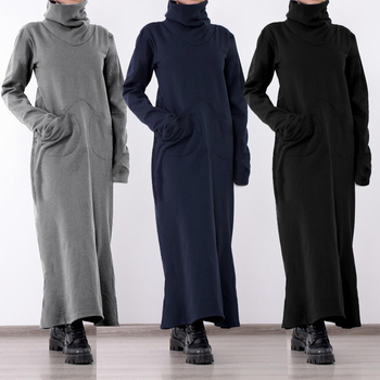 Women Turtleneck Vintage Winter Dress Celmia Autumn Solid Casual Loose Pockets Long Maxi Vestidos Robe Femme Plus Size Dresses 1
