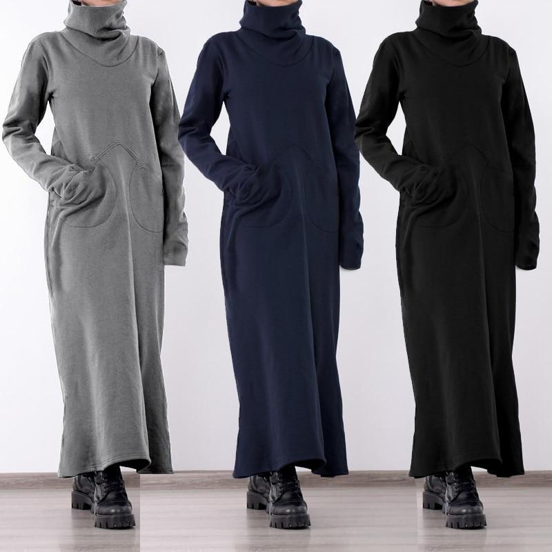 Women Turtleneck Vintage Winter Dress Celmia Plus Size Sundress Fashion Solid Casual Loose Pockets Long Maxi Vestidos Robe Femme