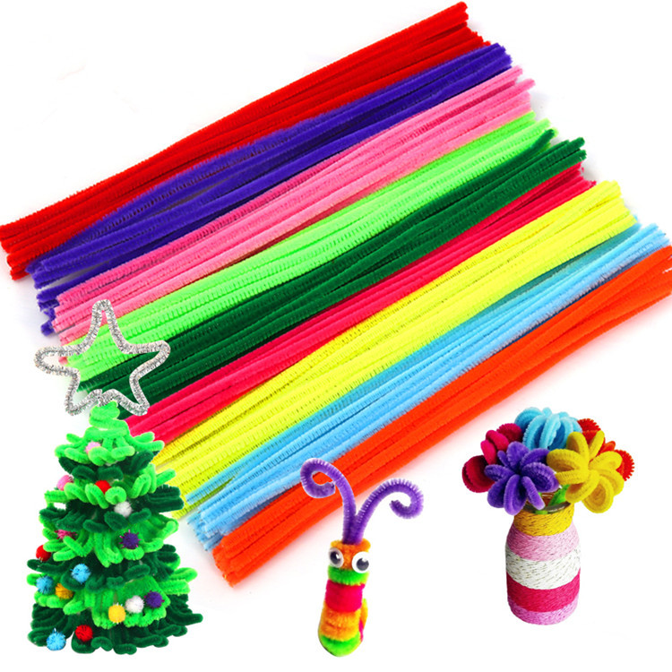 100Pcs DIY Handmade Colored Wool Root Top Twisting Bar Handmade Fluffy Iron Wire Imaginative Plush Play Baby Gift Decorations