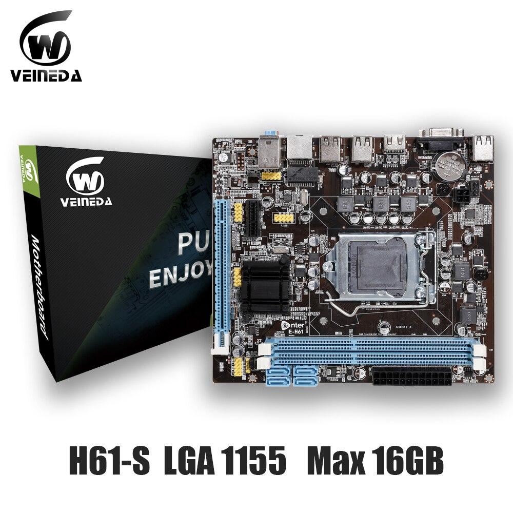 Veineda original H61-S desktop placa-mãe soquete lga 1155 para intel core i3 i5 i7 ddr3 memória 16g uatx h61 computador mainboard
