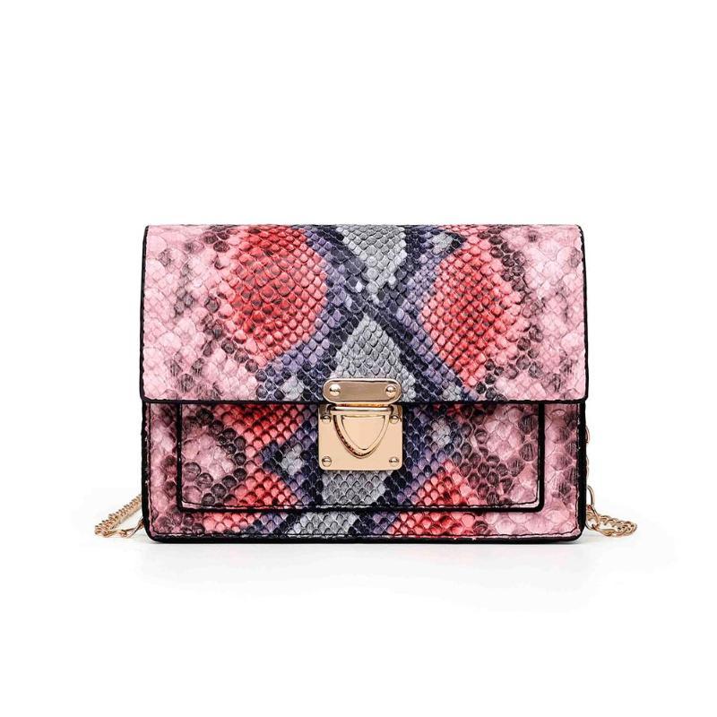 Fashion Snake Print Small Messenger Bag For Women 2020 PU Leather Retro Shoulder Crossbody Bags Bolsas Feminina Chain Handbag