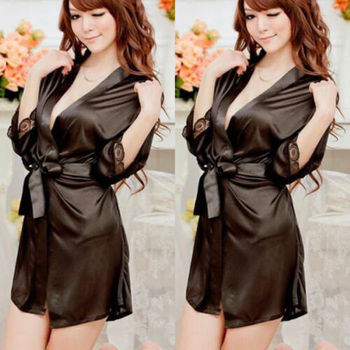 High Quality Hot Sale Fashion Women Sexy Silk Satin Deep V Bathrobe Pajama Elegant Lady Casual Robe