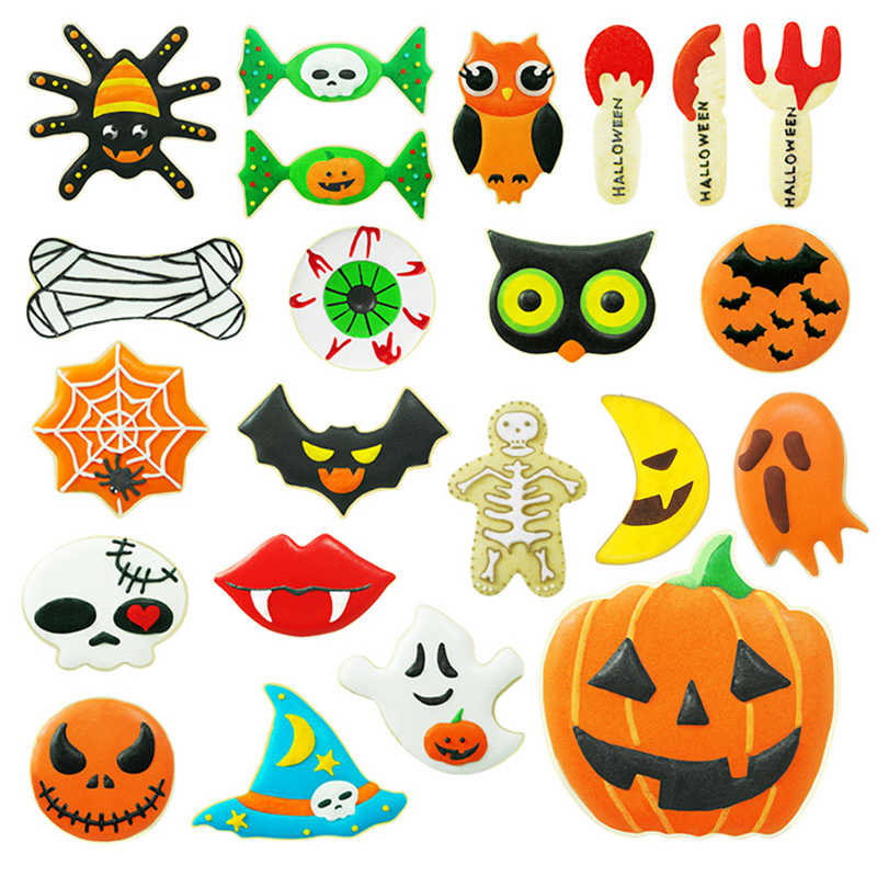 1pcs Halloween Pumpkin Ghost Theme Plastic Cookie Cutter Plunger Fondant Chocolate MoldBiscuit Mold Baking Tool