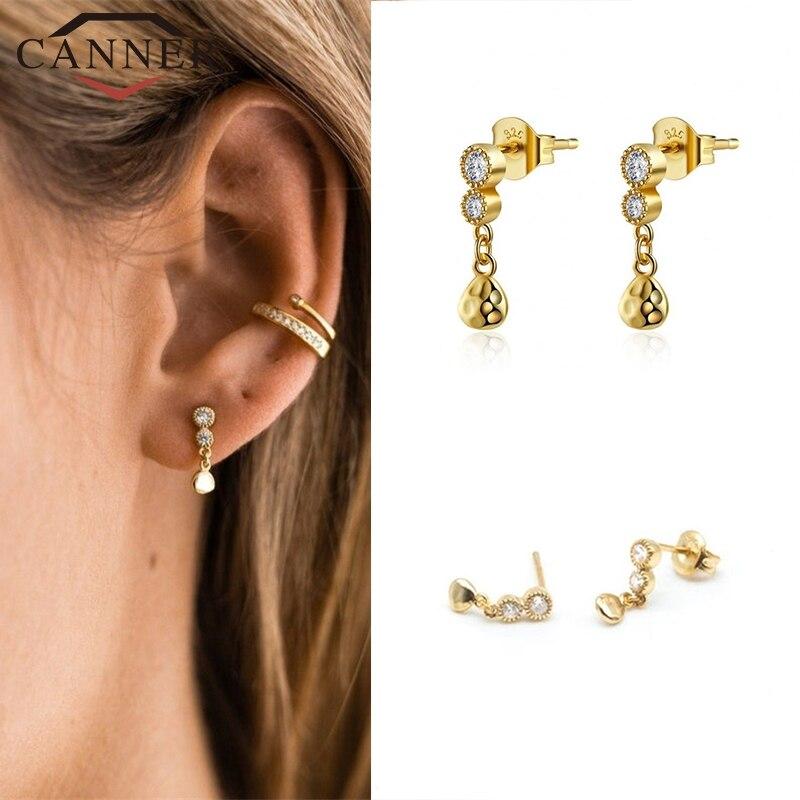925 sterling silver Gold color minimalist Chic Earrings CZ zircon Stud Earrings for Women Fashion Ear Jewelry