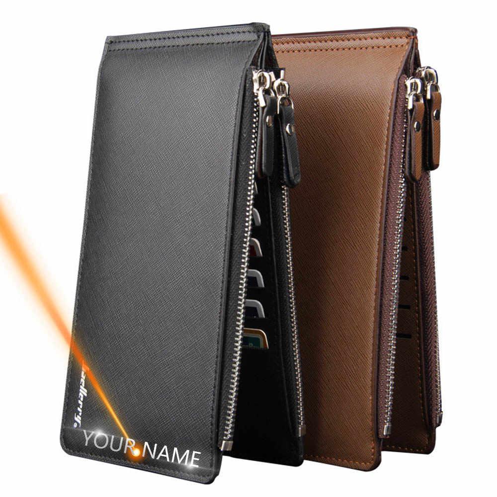 Carteira masculina compacta com zíper, carteira masculina compacta feita em estilo longo de gravura com zíper duplo, estilo casual e com porta-cartões, 2020