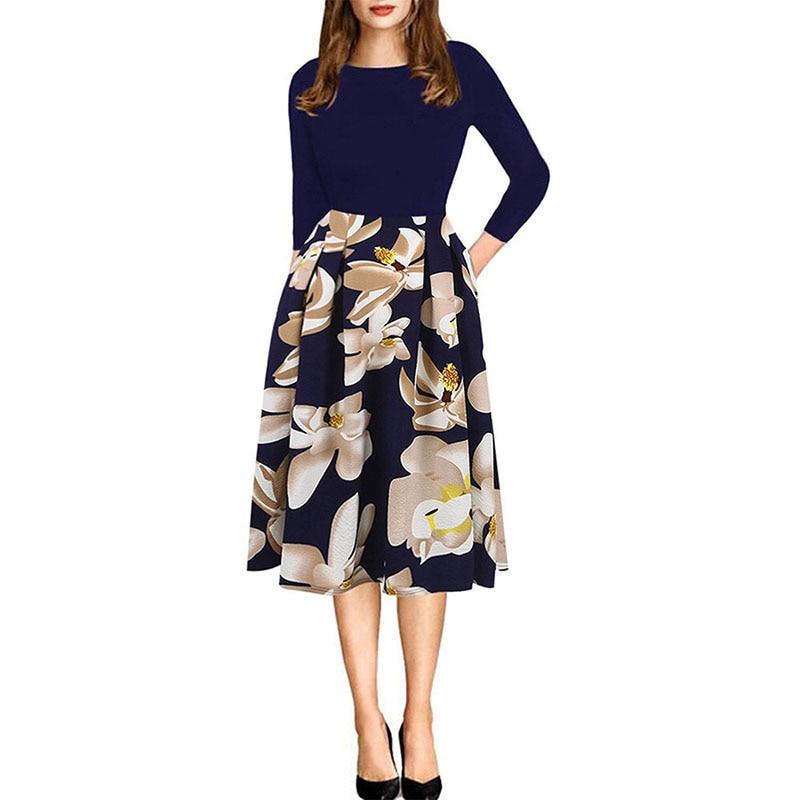 2019 женское весеннее платье с цветочным принтом, повседневное простое летнее длинное платье с 34 рукавами для женщин, модные свободные вечерние платья - 2