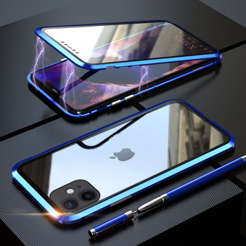 360 Full Protect Magnetic Case for iPhone XR XS MAX X 9 8 7 Plus SE 2020 Case Glass Cover for iPhone 11 Pro Max Case coque Funda - For iPhone XR, Blue