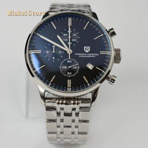 Mode de luxe marque Pagani design 43mm slver boîtier en acier noir cadran date en cuir chronographe japonais quartz hommes montre supérieure