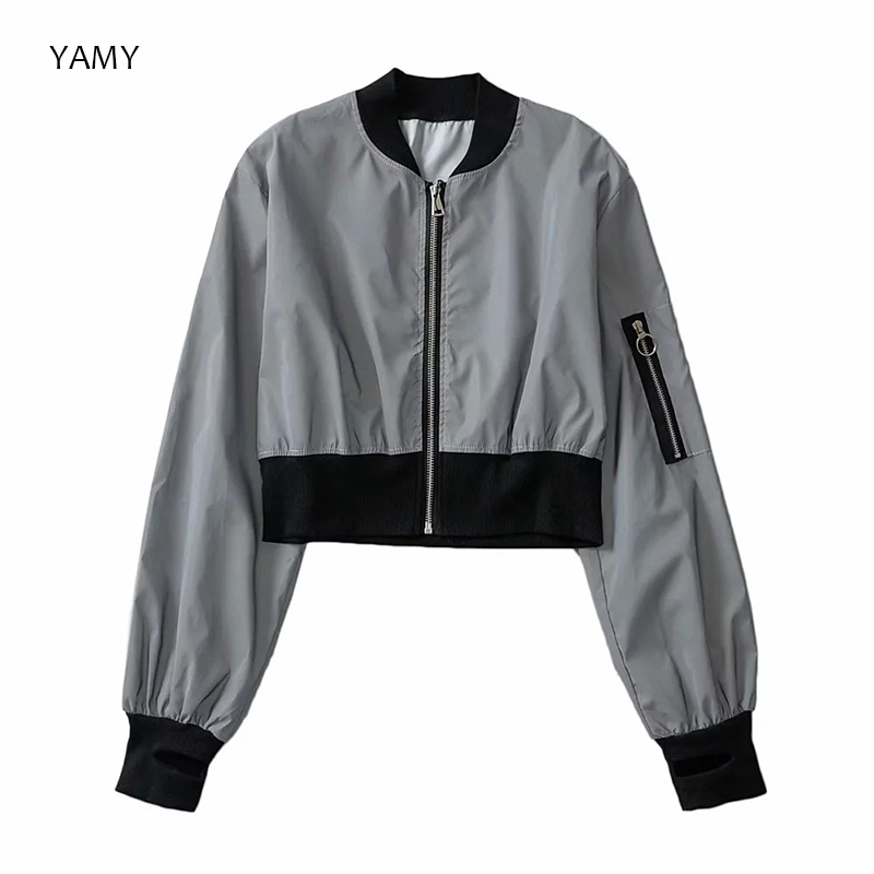 New Womens Reflective Jacket Long Sleeved Thin Bomber Jacket Punk Style Rockroll Chic Shining Jacket Coat Zipper Outwear 2019