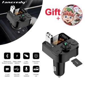 Image 1 - Samochodowy nadajnik bluetooth Fm bezprzewodowa ładowarka samochodowa podwójny USB bluetooth 5.0 Audio muzyka odtwarzacz MP3 akcesoria samochodowe bluetooth